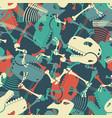 skeleton dinosaur seamless pattern dino bones vector image vector image
