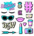 stickers set cartoon patch badges vector image vector image