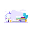 studying table with books and different folders vector image