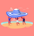 summer time season vacation concept tiny people vector image vector image
