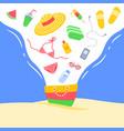 summer vacation bag beach stuff creative banner vector image