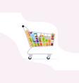 supermarket shopping cart grocery full shopping vector image