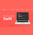 swift programming code technology banner swift vector image vector image