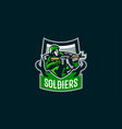 the emblem of the soldier logo of a military man vector image vector image