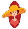 woman with big yellow hat on white background vector image vector image