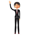 young asian business man waving her hand vector image vector image