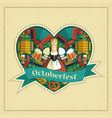 pretty bavarian girl with beer oktoberfest label vector image