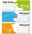 Fast food menu cards with burger hot dog and vector image