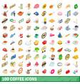 100 coffee icons set isometric 3d style