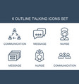6 talking icons vector image vector image