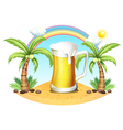 A giant mug of beer near the coconut trees vector image