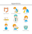 appendicitis symptoms outline icons set vector image vector image