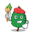 artist mint leaves character cartoon vector image vector image