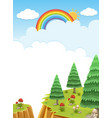 background scene with rainbow in the sky vector image