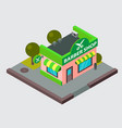barber shop isometric city street building vector image vector image