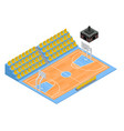 basketball field and tribune 3d isometric view vector image vector image