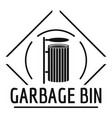 bin logo simple black style vector image vector image