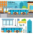Bus on street in the city vector image vector image