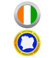 button as a symbol COTE DIvoire vector image vector image
