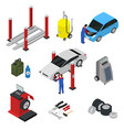 car auto service set isometric view vector image