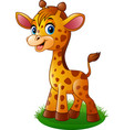 cartoon baby giraffe vector image vector image