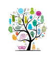 concept family tree for funny and scary vector image vector image
