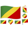 congo flag in seven shapes editable with separate vector image vector image