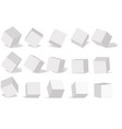 cube icon set with perspective 3d model of a cube vector image vector image