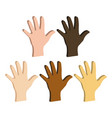 different color hands ethnicity hands symbol flat vector image