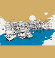 drawing sketch anadolu kavagi istanbul vector image vector image