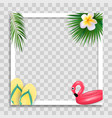 empty photo frame template with summer palm vector image