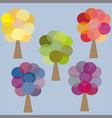 five color trees yellow green pink lilac blue vector image