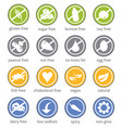 Food restriction information label icon set