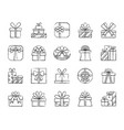 gift charcoal draw line icons set vector image