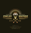 gold vintage retro badge wit diamond vector image vector image