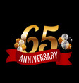 golden 65 years anniversary template with red vector image vector image
