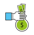 hand with bag money isolated icon vector image vector image