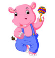 happy hippo cartoon vector image vector image