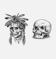 human skull dead native american indian with vector image