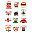 japanese food emblem set with sushi seafood rice vector image vector image