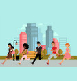 late business people hurrying looking watch vector image