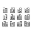 line black icons buildings and company set vector image vector image