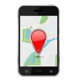 map with location pin on smartphone screen vector image