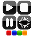 multimedia audio video button set play stop pause vector image