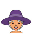 old woman face lady grandma cartoon vector image