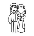 outlined couple virgin mary and joseph nativity vector image vector image