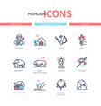 prehistoric times - line design style icons set vector image