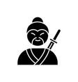 samurai black glyph icon asian martial arts vector image