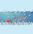 santa claus and reindeer flying with hanging gifts vector image