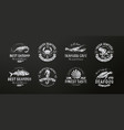 seafood icon sea creatures animals chalked on a vector image